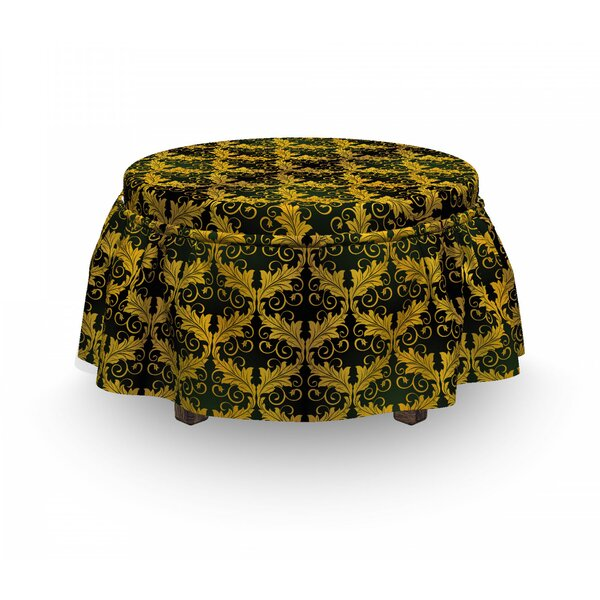 Wave Shape Leaves Ottoman Slipcover (Set Of 2) By East Urban Home