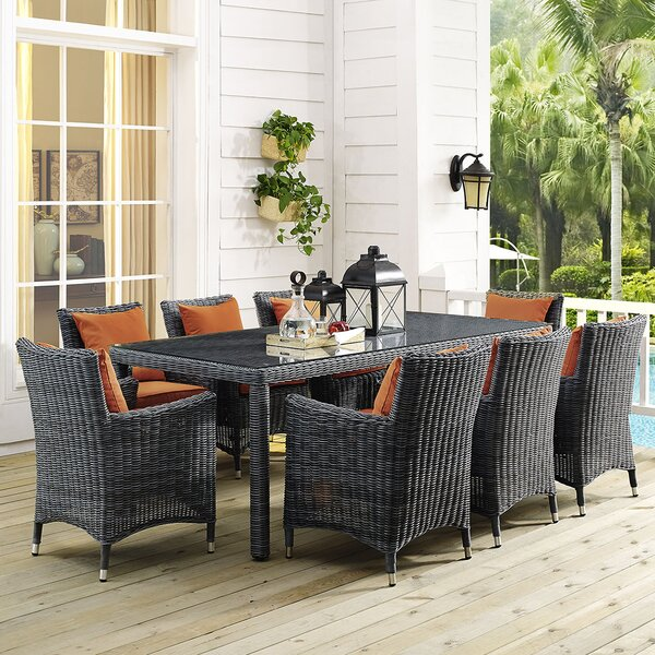 Keiran 9 Piece Dining Set with Sunbrella Cushions by Brayden Studio