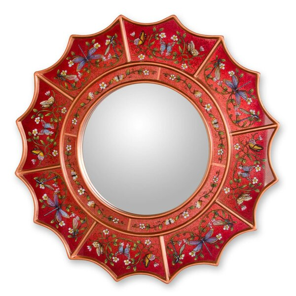 Summer Radiance Reverse Painted Glass Wall Mirror by Novica