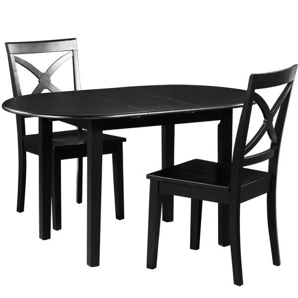 Modern Spillers 3 Piece Extendable Solid Wood Dining Set By Winston Porter Coupon