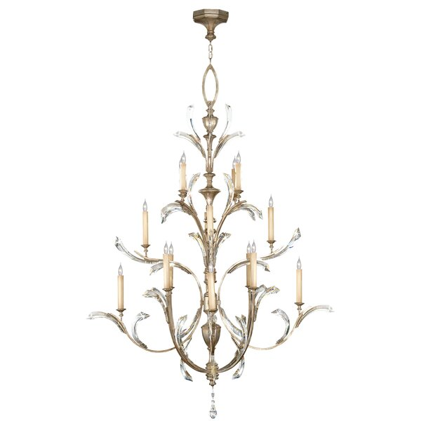 Beveled Arcs 16 - Light Candle Style Tiered Chandelier By Fine Art Lamps