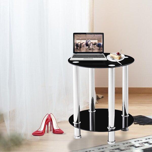 Taha Glass Top End Table with Storage by Orren Ellis Orren Ellis