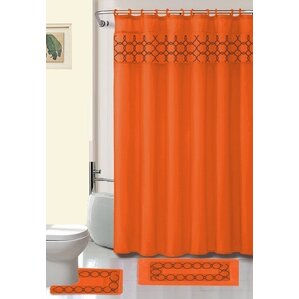 orange shower curtains youll love wayfair - Burnt Orange Bath Set