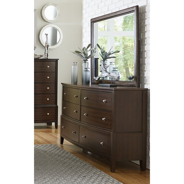 Jeffries 6 Drawer Double Dresser with Mirror by Wrought Studio
