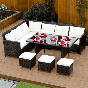 8 Seater Rattan Effect Sofa Set With Cushions