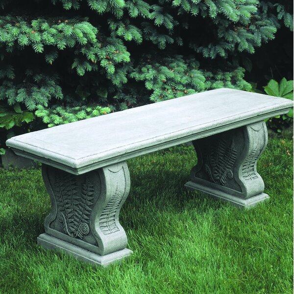 Straight Woodland Ferns Cast Stone Garden Bench by Campania International Campania International