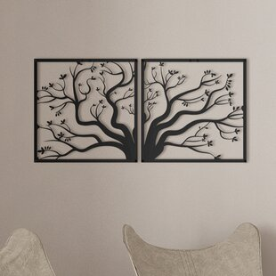 2 Piece Steel Family Tree Wall Décor Set
