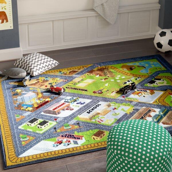 Haar Gray/Green Indoor/Outdoor Area Rug By Zoomie Kids