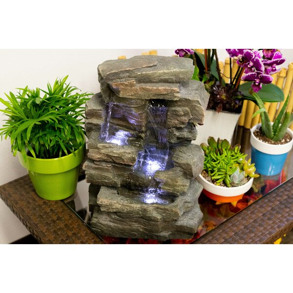 Fiberglass Slate Tabletop Fountain with LED Light by Alpine