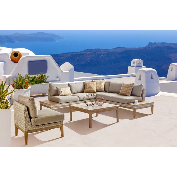 River Darnell Patio 5 Piece Sectional Seating Group with Cushions by Modern Rustic Interiors