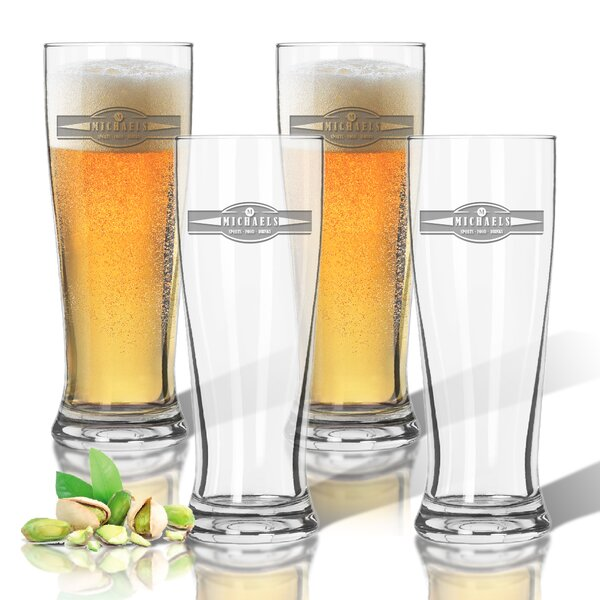 Tritan Sports Food Drink Banner 14 oz. Pilsner Glass (Set of 4) by Carved Solutions