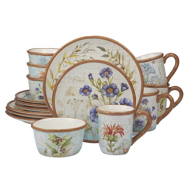 Fritch Herb Blossoms 16 Piece Dinnerware Set, Service for 4 by August Grove