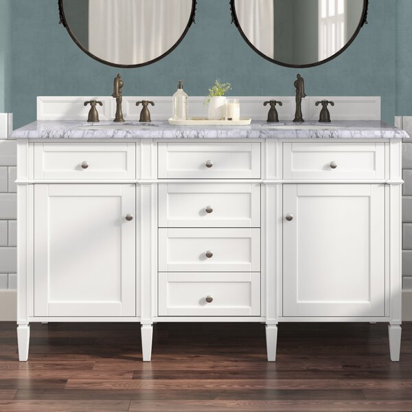 Deleon 60 Double Cottage White Quartz Top Bathroom Vanity Set by Darby Home Co