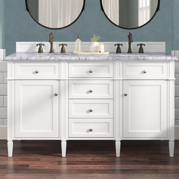 Deleon 60 Double Cottage White Quartz Top Bathroom Vanity Set by Darby Home Co