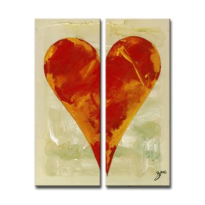 Zane Heartwork Bailee 2 Piece Painting Print on Canvas Set by Ready2hangart