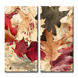 Fall Ink IX 2 Piece Graphic Art on Wrapped Canvas Set by Ready2hangart