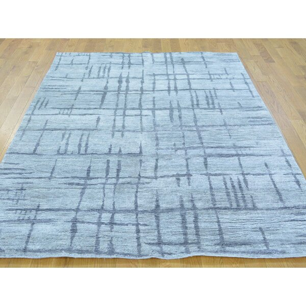 One-of-a-Kind Bevill Silver Broken Design Handwoven Grey Wool/Silk Area Rug by Isabelline