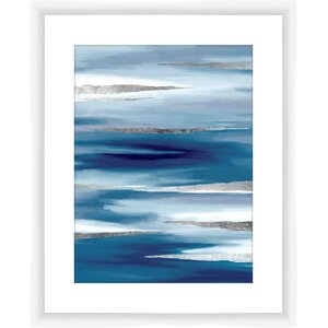 Blue and Silver Framed Graphic Art by PTM