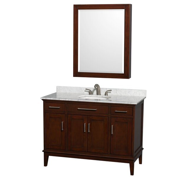 Hatton 48 Single Dark Chestnut Bathroom Vanity Set with Medicine Cabinet by Wyndham Collection