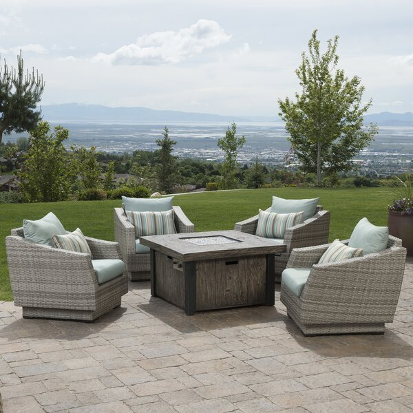 Castelli 5 Piece Rattan Seating Group with Sunbrella Cushions Set by Wade Logan