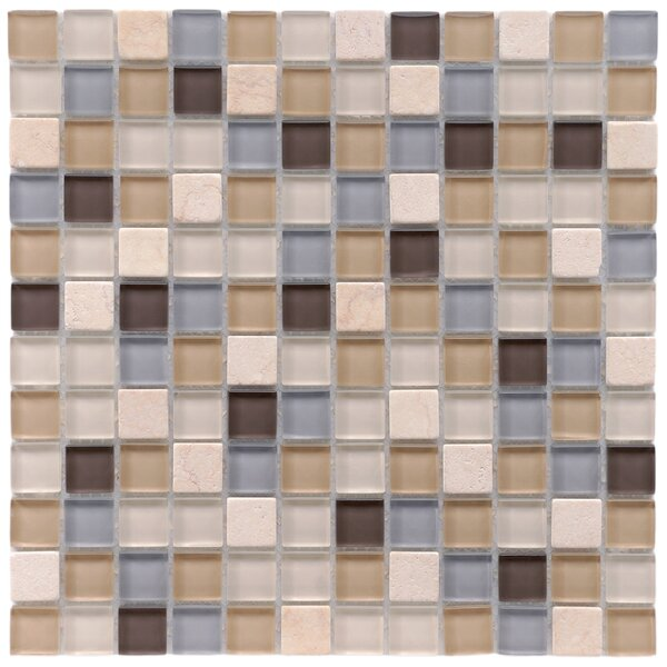 Sierra 0.88 x 0.88 Glass and Natural Stone Mosaic Tile in Blue/Beige by EliteTile