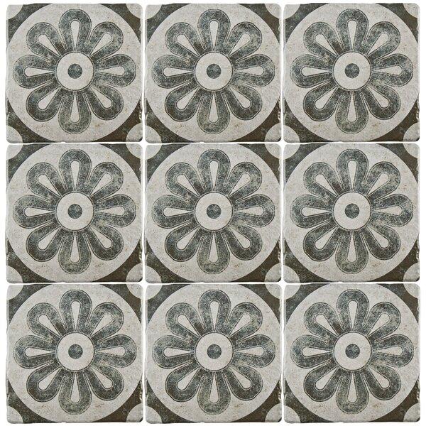 Diego 7.75 x 7.75 Ceramic Field Tile in Matte Gray/Blue/Brown by EliteTile