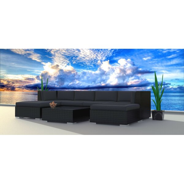 Kirkland 7 Piece Rattan Sectional Seating Group with Cushions by Brayden Studio