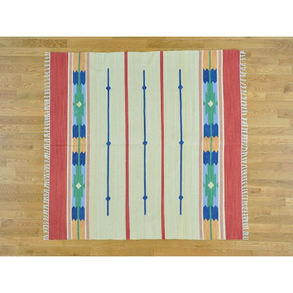 One-of-a-Kind Bontang Design Striped Handmade Kilim Beige Wool Area Rug by Isabelline