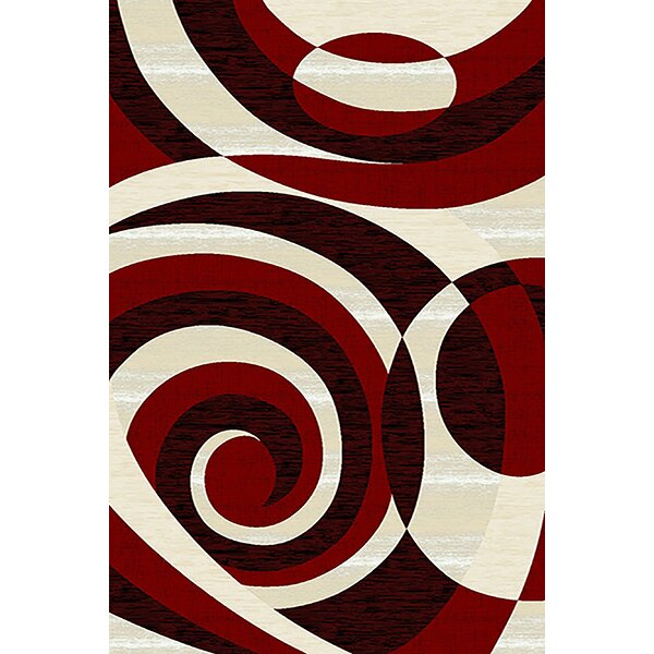 Mccampbell 3D Hand Carved Abstract Red/Cream Area Rug by Ivy Bronx
