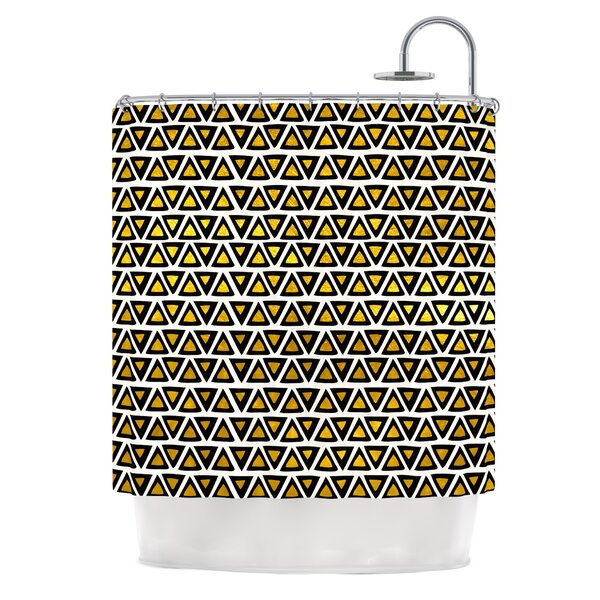 Aztec Triangles Gold by Pom Graphic Design Shower Curtain by East Urban Home