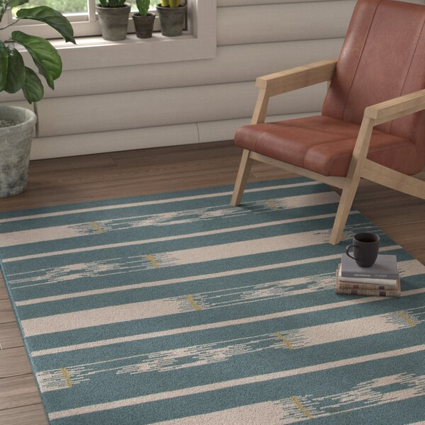 Camarillo Wool Flat Weave Blue/Ivory Area Rug by Loon Peak