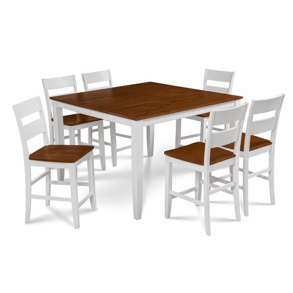 Bennet Solid Wood 7 Piece Counter Height Extendable Solid Wood Dining Set by Alcott Hill