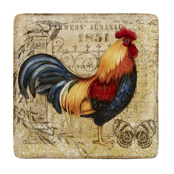 Frison Gilded Rooster Square Platter by August Grove
