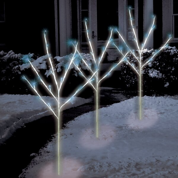 60 Light LED Twig Tree Pathmarkers Christmas Decoration (Set of 3) by The Holiday Aisle