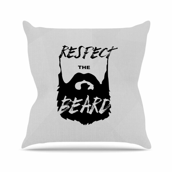 Juan Paulo Respect the Beard Typography Beard Outdoor Throw Pillow by East Urban Home