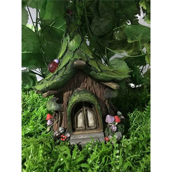 Fairy Garden House with Leaf Roof and Solar LED Lights Statue by Hi-Line Gift Ltd.