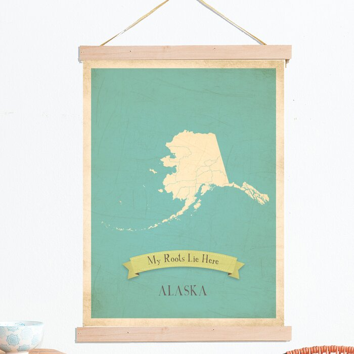 My Roots Alaska Personalized Map Tapestry Graphic Art on Canvas