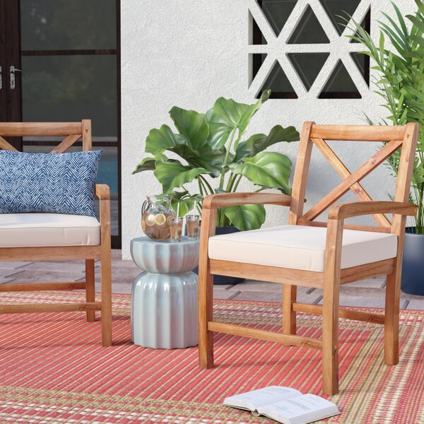 Calvert X-Back Acacia Patio Chair with Cushions (Set of 2) by Rosecliff Heights