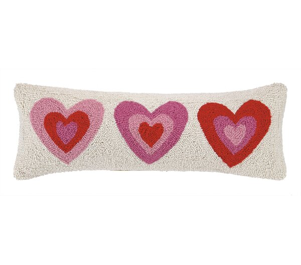 Pink Hearts Hook Wool Lumbar Pillow by Peking Handicraft
