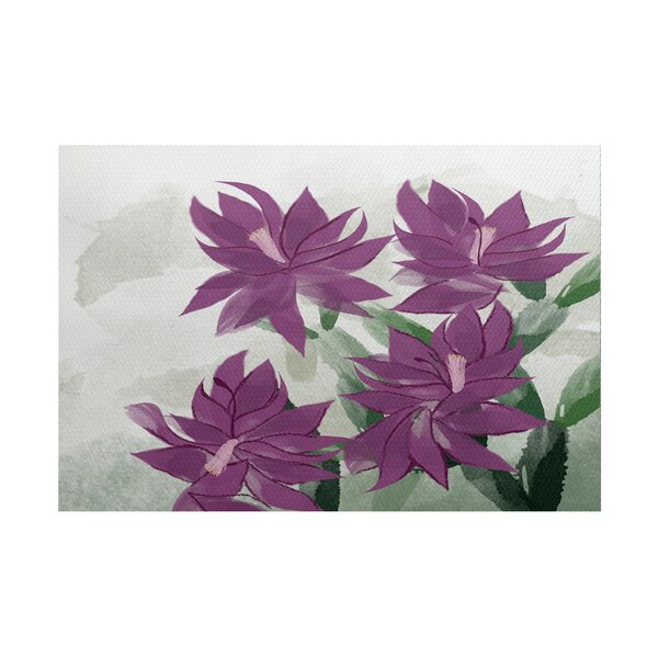 Amanda Christmas Cactus Floral Print Purple/Green Indoor/Outdoor Area Rug by August Grove