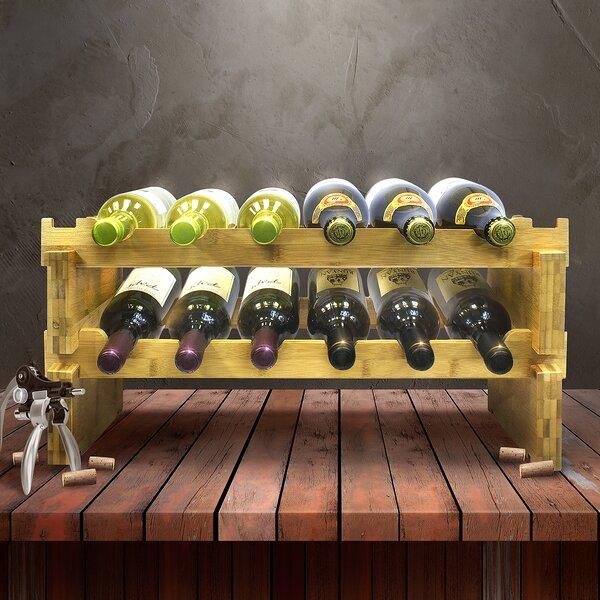 2-Tier Stackable Bamboo 12 Bottle Tabletop Wine Bottle Rack by Sorbus