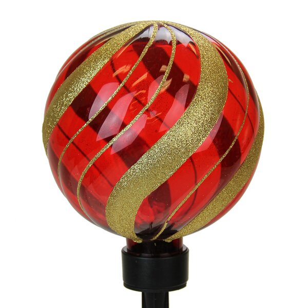 Solar Medium Glitter Orb Garden Stake by Exhart