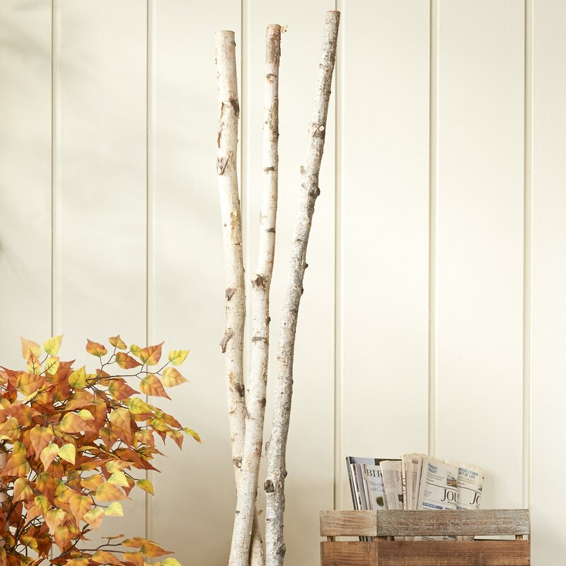Natural Birch Branch Decor Set Of 3