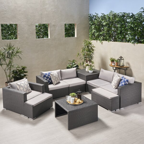 Guccione Outdoor V Shaped Storage 9 Piece Sectional Seating Group with Cushions by Orren Ellis