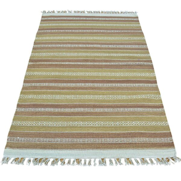 Durie Kilim Flat Weave Hand-Knotted Light Green/Light Brown Area Rug by Bloomsbury Market