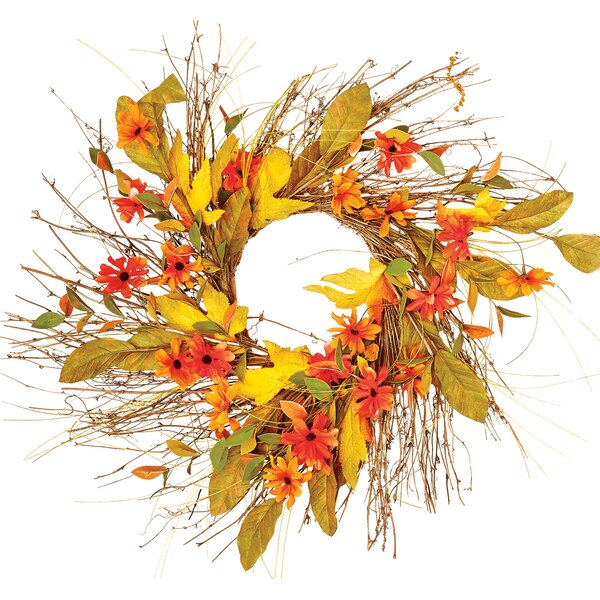 Mixed Fall Floral Twig Wreath by Worth Imports