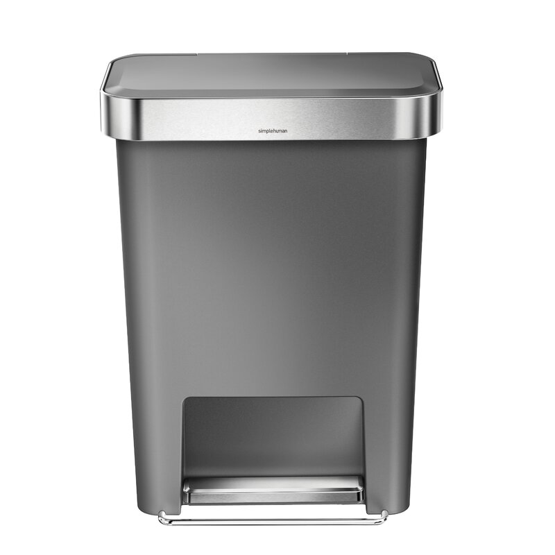 simplehuman stainless steel 11.9 gallon step on trash can