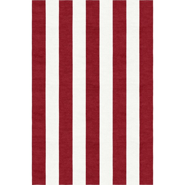 Watchman Stripe Hand-Woven Wool Wine Red/White Area Rug by Breakwater Bay