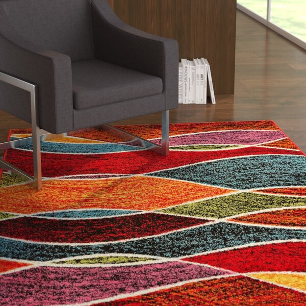 Crew Park Tribal Waves Red Area Rug by Ebern Designs