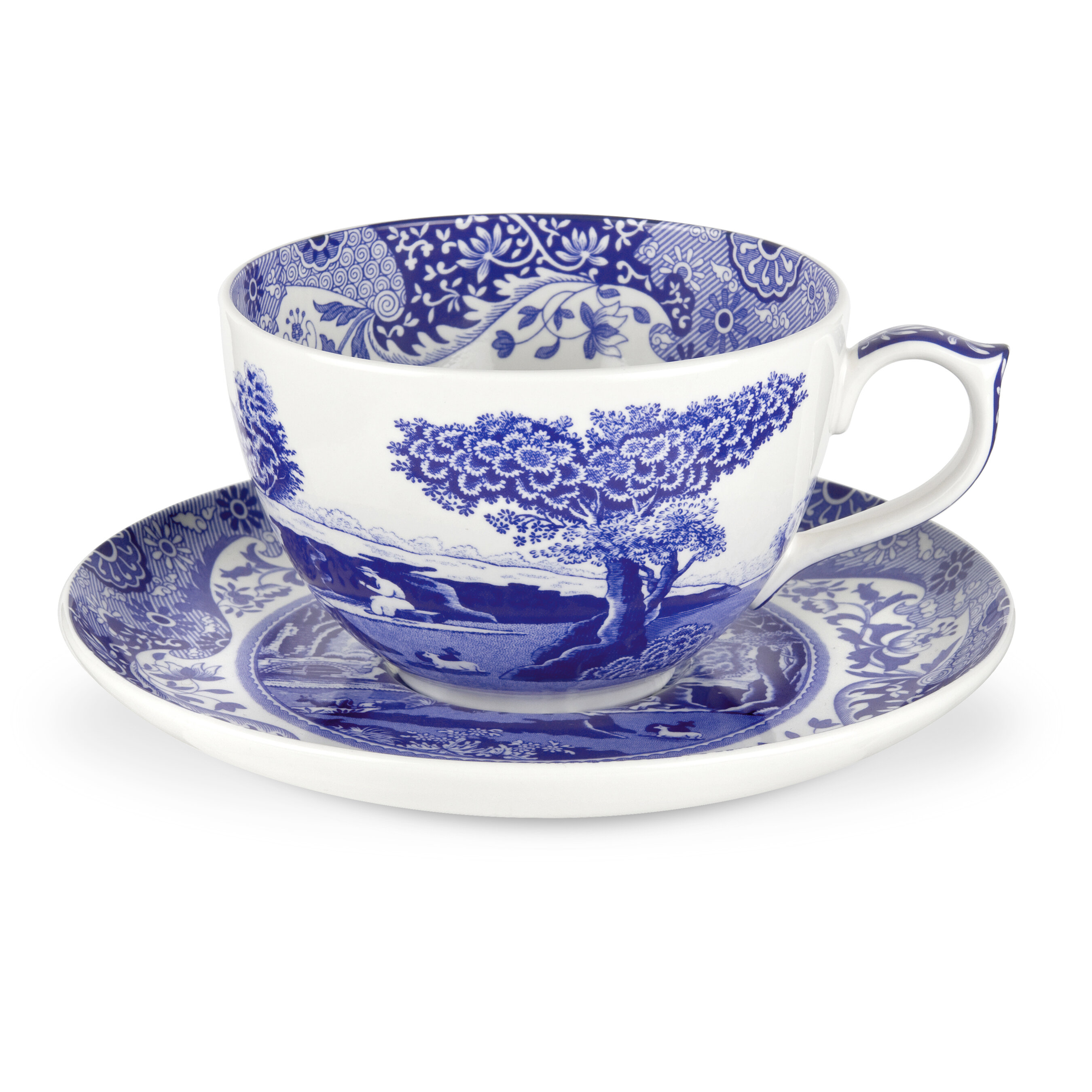 Small Footed Sherbet Cup; Porcelain Cup; Birds and Flowers Patterns; White and Blue Cup